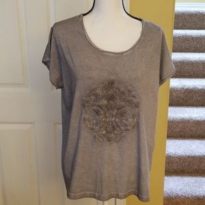 DANTELLE GRAY EMBROIDERED SHIRT, SIZE XL